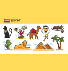 egypt travel destination poster with famous vector image