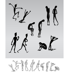 Emotional people cartoon silhouettes vector image