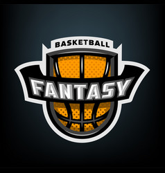 fantasy basketball sports logo emblem vector image
