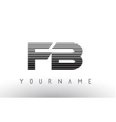 Fb f b black and white horizontal stripes letter vector