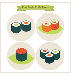 Flat Sushi Rolls Circle Icons Set vector image