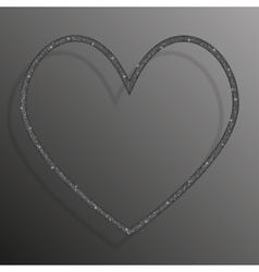 Frame Silver Sequins Heart Glitter sparkle vector image