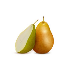 fresh pear and slice3d icon vector image