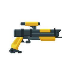 Futuristic space gun blaster yellow and black vector