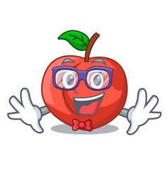 Geek nectarines cartoon with green leaves vector