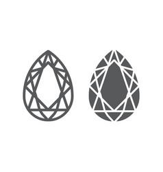 gem line and glyph icon jewelry and crystal vector image