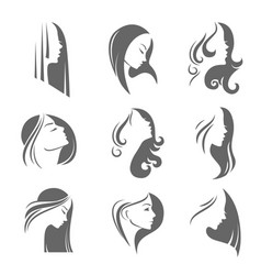 Girls portrait - silhouette icon vector