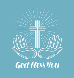 god bless you handwritten lettering church vector image