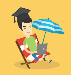 graduate lying in chaise lounge with laptop vector image