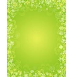 Green patricks day background with shamrocks vector