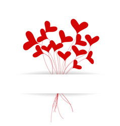 greeting card with hearts bouquet vector image