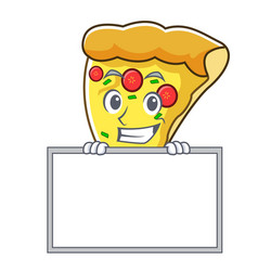 Grinning with board pizza slice character cartoon vector