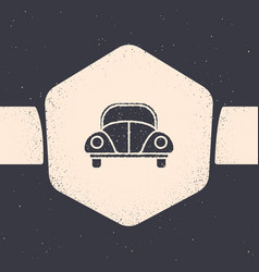 Grunge car volkswagen beetle icon isolated on grey vector