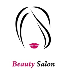 Hair salon sign with woman silhouette vector