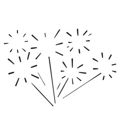 Hand drawn doodle fireworks icon vector