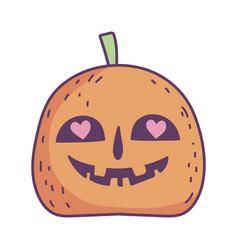 Happy halloween celebration creepy pumpkin hearts vector