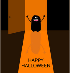 Happy halloween screaming monster silhouette vector