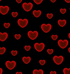 Hearts black background seamless pattern vector image
