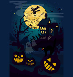 horror house and pumpkin vector image