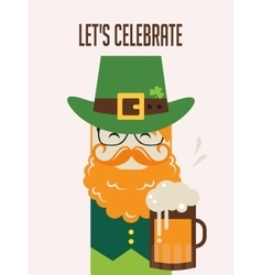 Irish man with beer St Patricks Day design vector