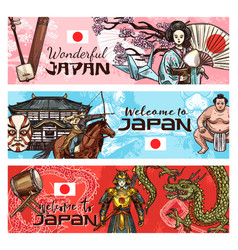 japanese travel banners national symbols of japan vector image