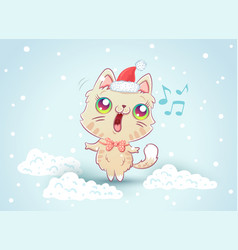 Kitty on snow in kawaii style vector