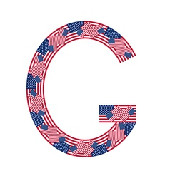 Letter G made of USA flags vector