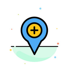 Location map navigation pin plus abstract flat vector