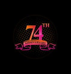 Logo 74th anniversary with a circle vector