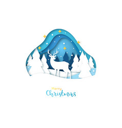 Merry christmas greeting card paper art style vector