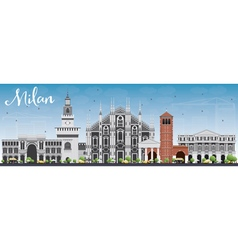 Milan Skyline with Gray Landmarks vector image