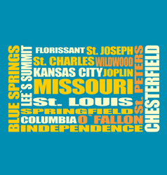 Missouri state cities list vector