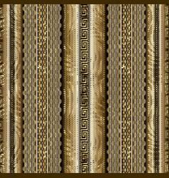 Modern striped geometric 3d greek key seamless vector