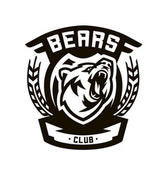 Monochrome logo emblem growling bear vector