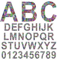 Multicolor mosaic font set vector
