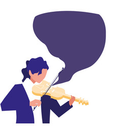 Musician playing instrument flat design vector