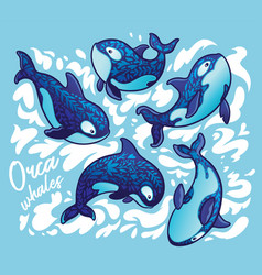 ocean animal orca whale decoration floral art vector image