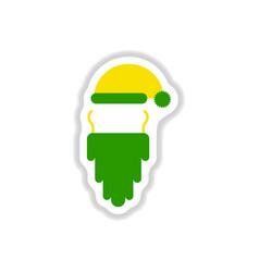 Paper sticker style accessories santa claus hat vector