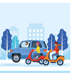 People driving car and motorcycles design vector