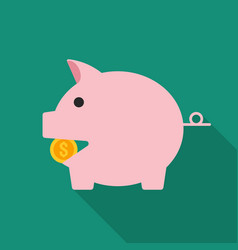 piggy bank flat design icon vector image
