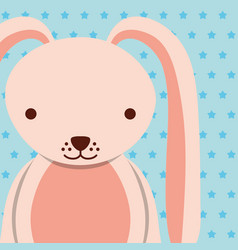 Pink female rabbit with dotted background vector