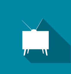 retro tv flat icon with long shadow vector image
