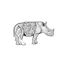 Rhino drawing entangle animal full length vector