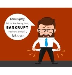 sad business man crying because bankruptcy vector image