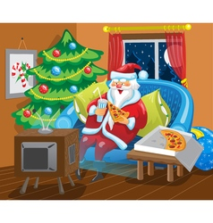 Santa watches TV vector image