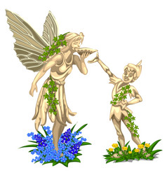 sculpture of fairy with wings and cheerful boy vector image