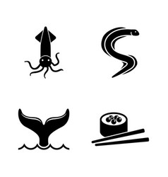 seafood simple related icons vector image