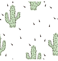 Seamless abstract modern green cactus pattern on vector