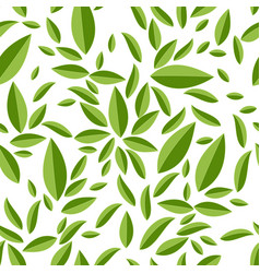 seamless geometric pattern green leaves on white vector image