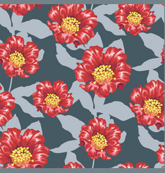 Seamless patternwith bright pomegranate blooming vector